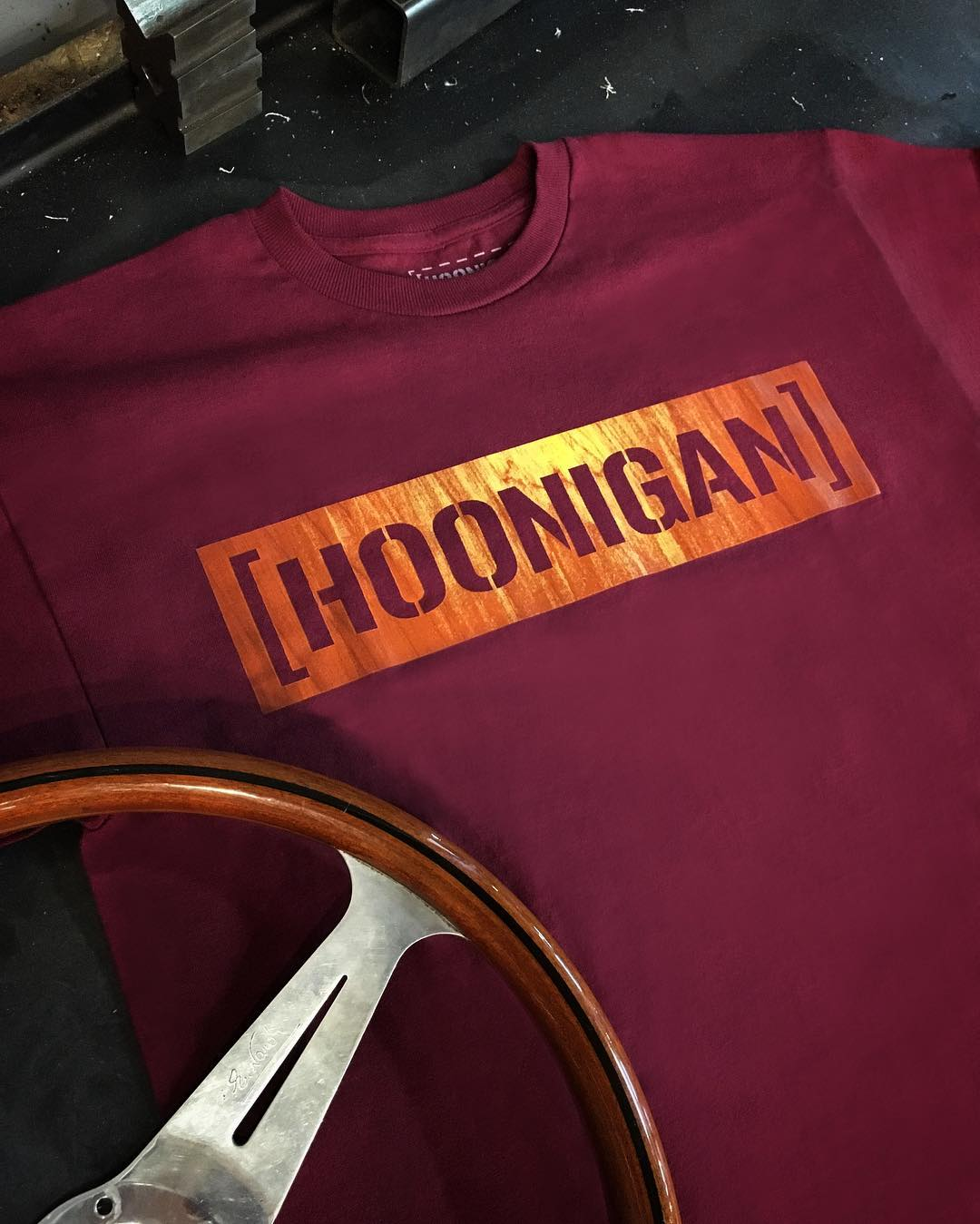 The Wood Grain Censor Bar tee. Inspired by classic wood steering wheels from the past. #grippinggrain #hooniganDOTcom
