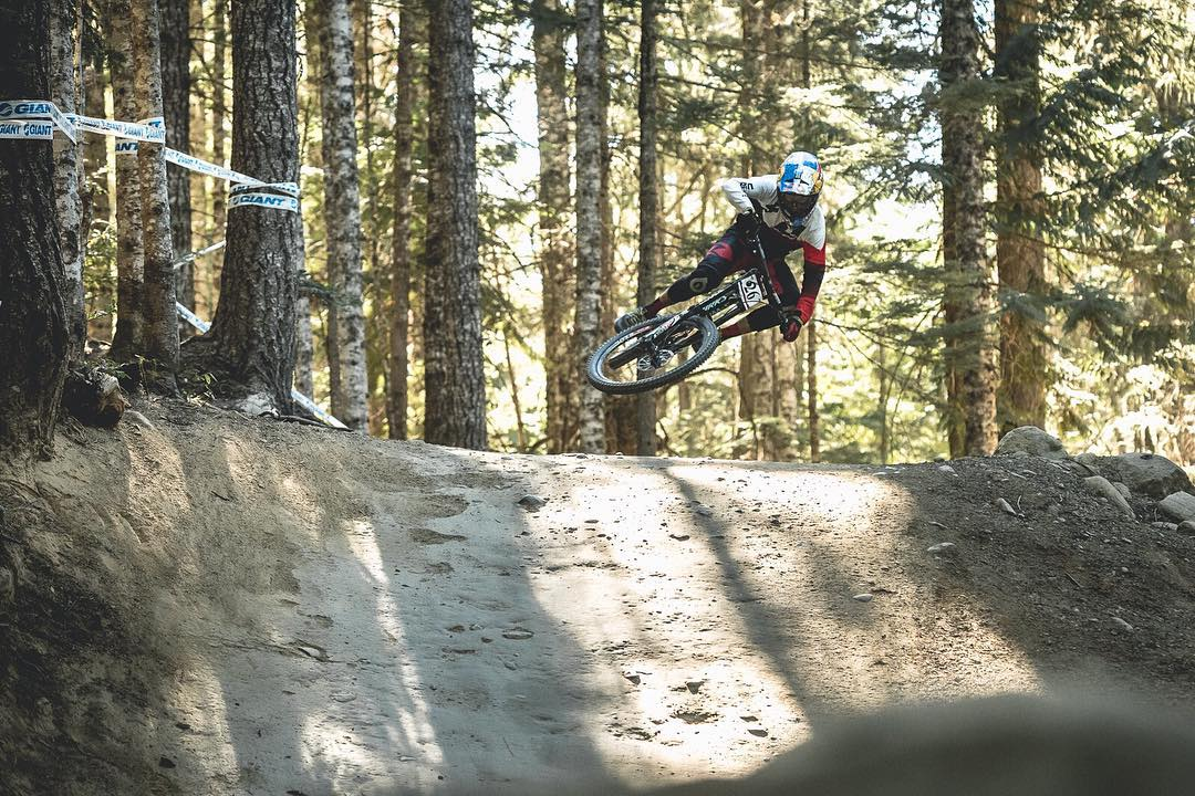 @finniles stylin' it out in our #RageKnee protection over one of the many A-line jumps for yesterdays #Crankworx #AirDH Photo  @davetrumporephoto  #SixSixOne #661Protection #ProtectFun