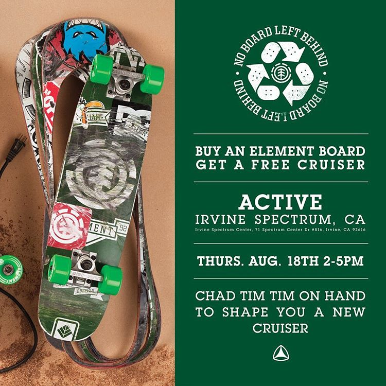 There is a #NoBoardLeftBehind event TODAY at @activeirvinespectrum ♻️ >>> @7im7im will be there to cut you a brand new cruiser! Come by and have a good ol' time!
