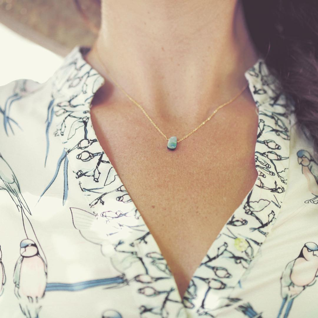 Australian Boulder Opal Necklace. This is the petite style Opal in retrospect. It's the perfect gemstone to mix and match with every color since they're all 100% one of a kind.  The glory is limitless.  #natural #gemstone #necklace #Australian...