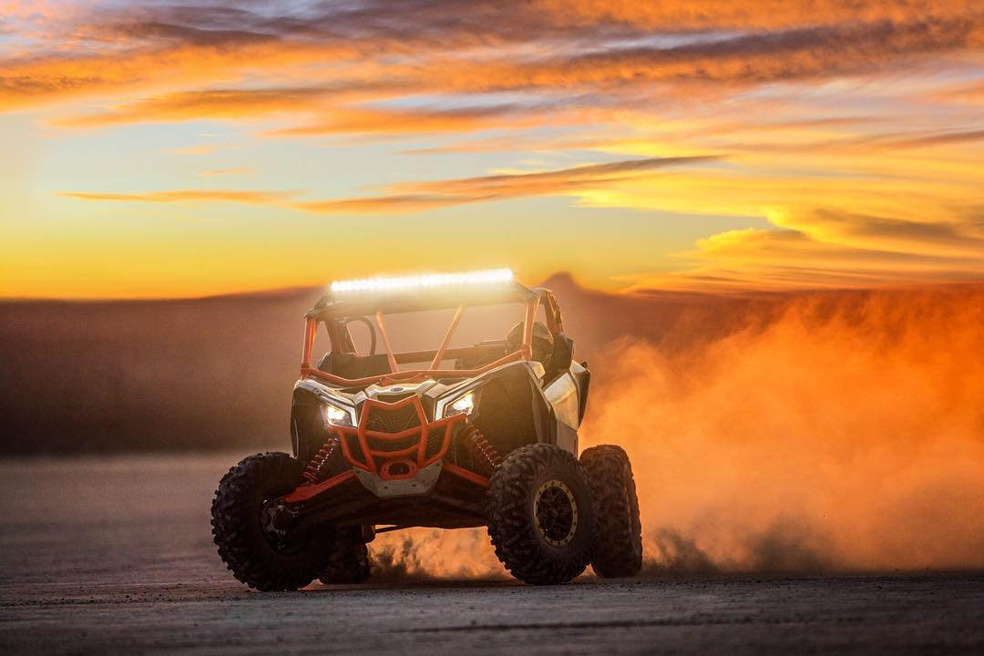 Sunset slay sesh in our #CanAm #MaverickX3. #goodtimes