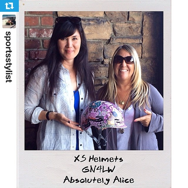 #Repost from @sportsstylist: Cindy and I showing off the @girlisnota4letterword custom artwork by @Absolutely_Alice on @xshelmets Freeride helmet. Even better in person! #xshelmets #GN4LW