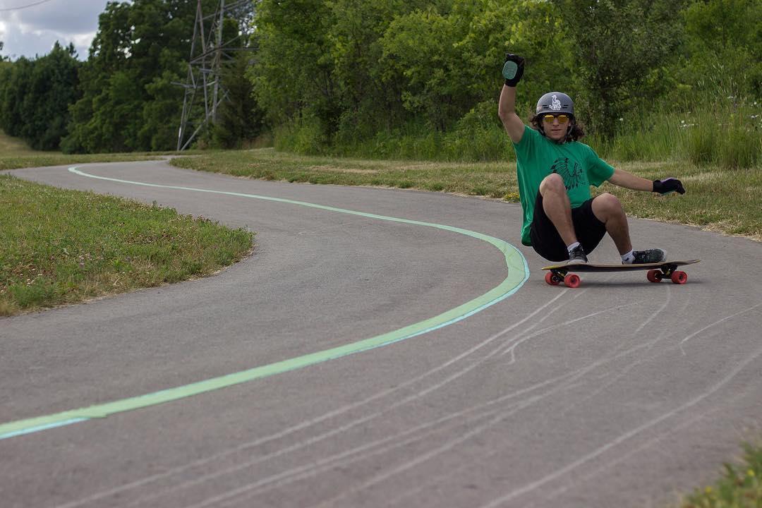 "@j_shoom having some fun on the Keystone 39"" in Ontario, Canada. Be on the lookout for a new video featuring Jeremy next week! (Photo by Michael Stec)  #dblongboards #longboard #dbkeystone #downhillskateboarding"