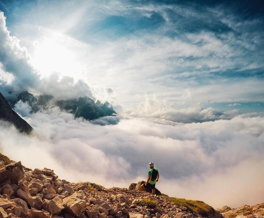 Photo of the Day! Andrea Niero starts the weekend off above the clouds. #GoPro #GoProTravel #dolomites #dolomiti #italy