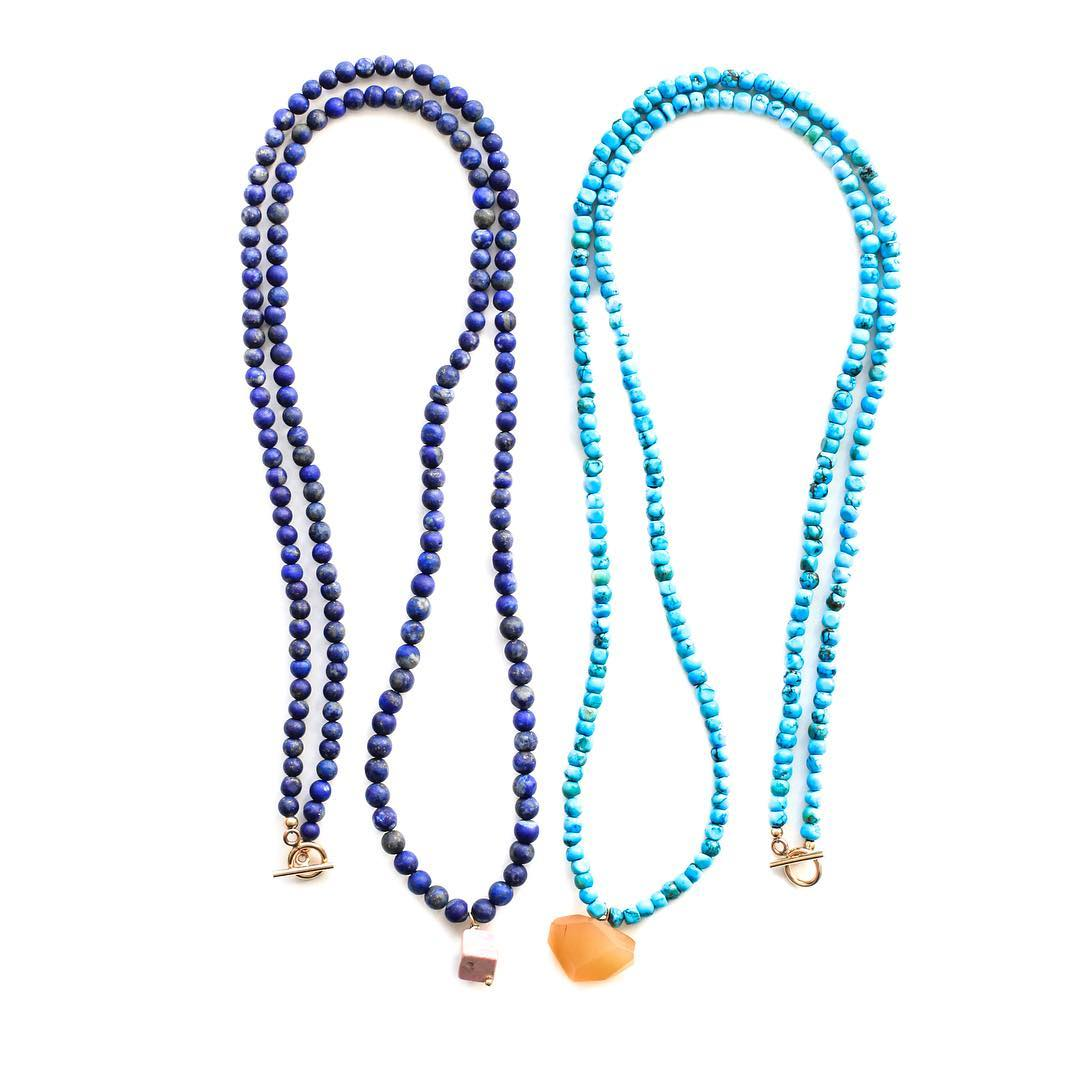 Lapis Lainie & Turquoise Lainie Necklaces. Each wears long with a gemstone charm for your need for a pop of color.  Visit the web shop for more!  #Saturday #weekender #lapis #turquoise #jasper #carnelian #gemlove #colortherapy #styleguide #nynow...