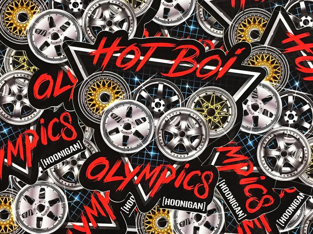 First ten to name all the wheels on our new Hot Boi Olympics sticker get a FREE STICKER PACK with a few of these tossed in. GO! Available now on #hooniganDOTcom.