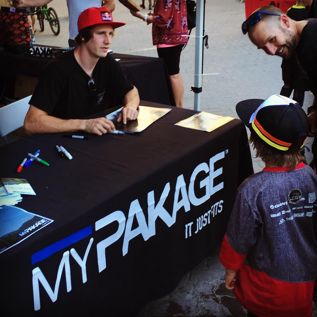 Brandon Semenuk takes a break from riippin' it up at #crankworx to meet his fans. #permissiontoplay
