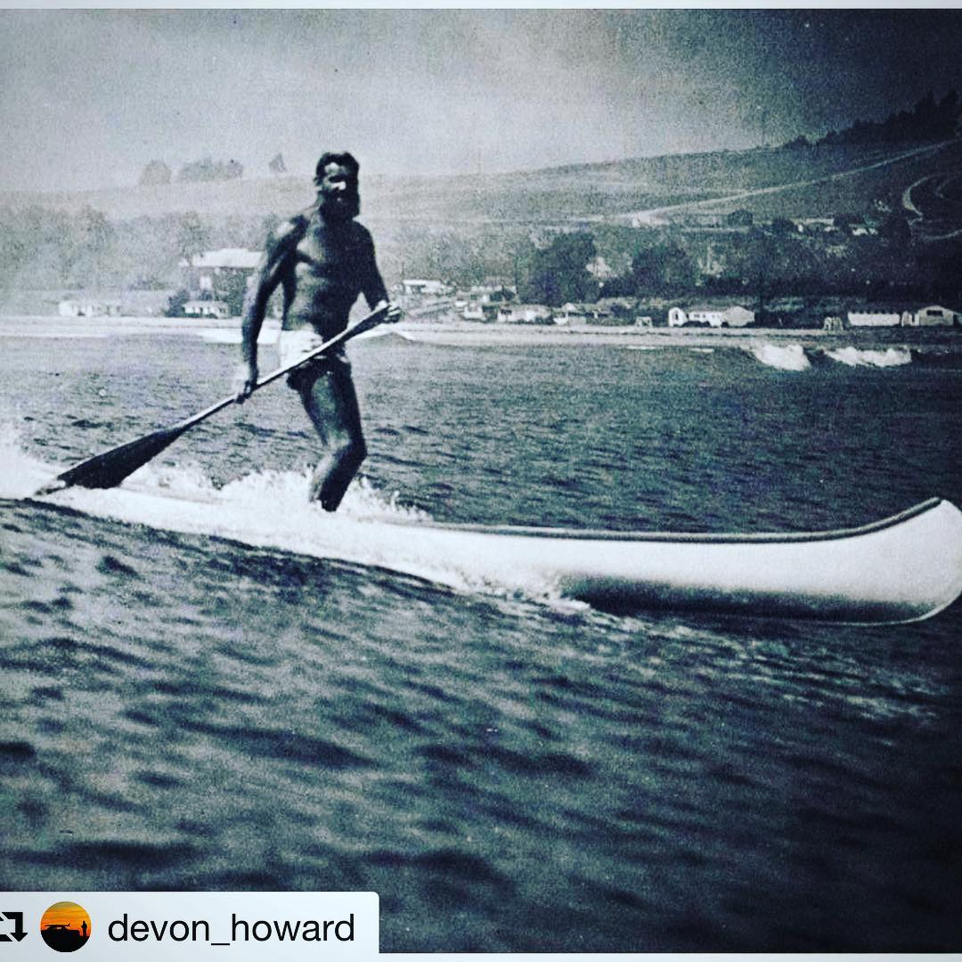 Waterman History edition:  Couldn't resist reposting about Ron Drummond - a bodysurfer who wrote the first book about wave riding back in 1931, and happily cruised around (fishing & surfing waves by himself from Killer Dana to Trestles) SUPing, in an...