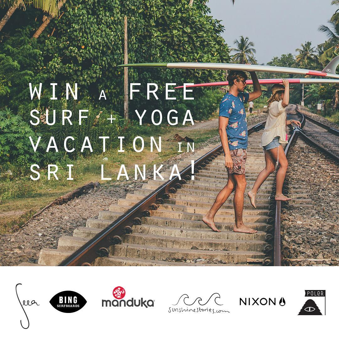 11 days left to enter!⚡️ Don't forget about this epic chance to win a Surf & Yoga Vacation in Sri Lanka at @sunshinestories retreat! We teamed up with friends to give one lucky winner a dream trip and goodies take with you: a free @bingsurfboards...