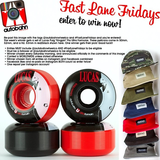 "Re-post this image with the tags @autobahnwheelco and #FastLaneFridays and you're entered! This week's winner gets a set of Lucas Puig ""Kingpin"" Pro Ultra Formulas. These pelicans come in 50mm, 52mm, and a ltd. 53mm in red/black shown here. One winner..."