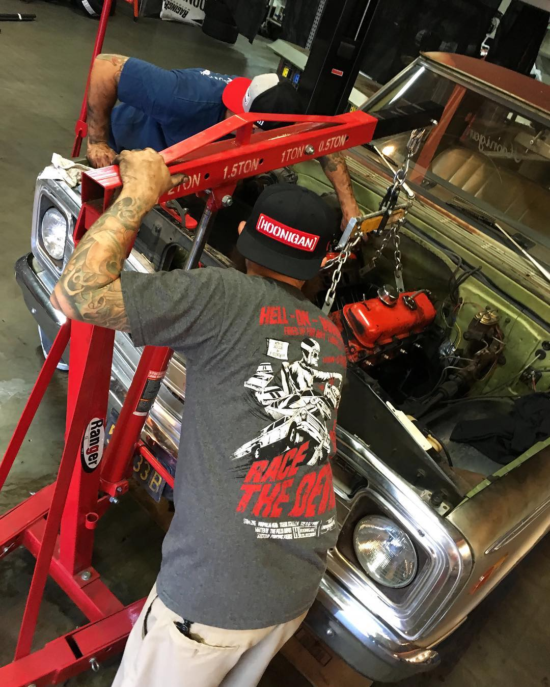 Hell On Wheels You know that moment the engine separates from the transmission. Hell on Wheels tee and Letterman snapback - #hooniganDOTcom #YankThatBoatAnchor #supporthooniganism