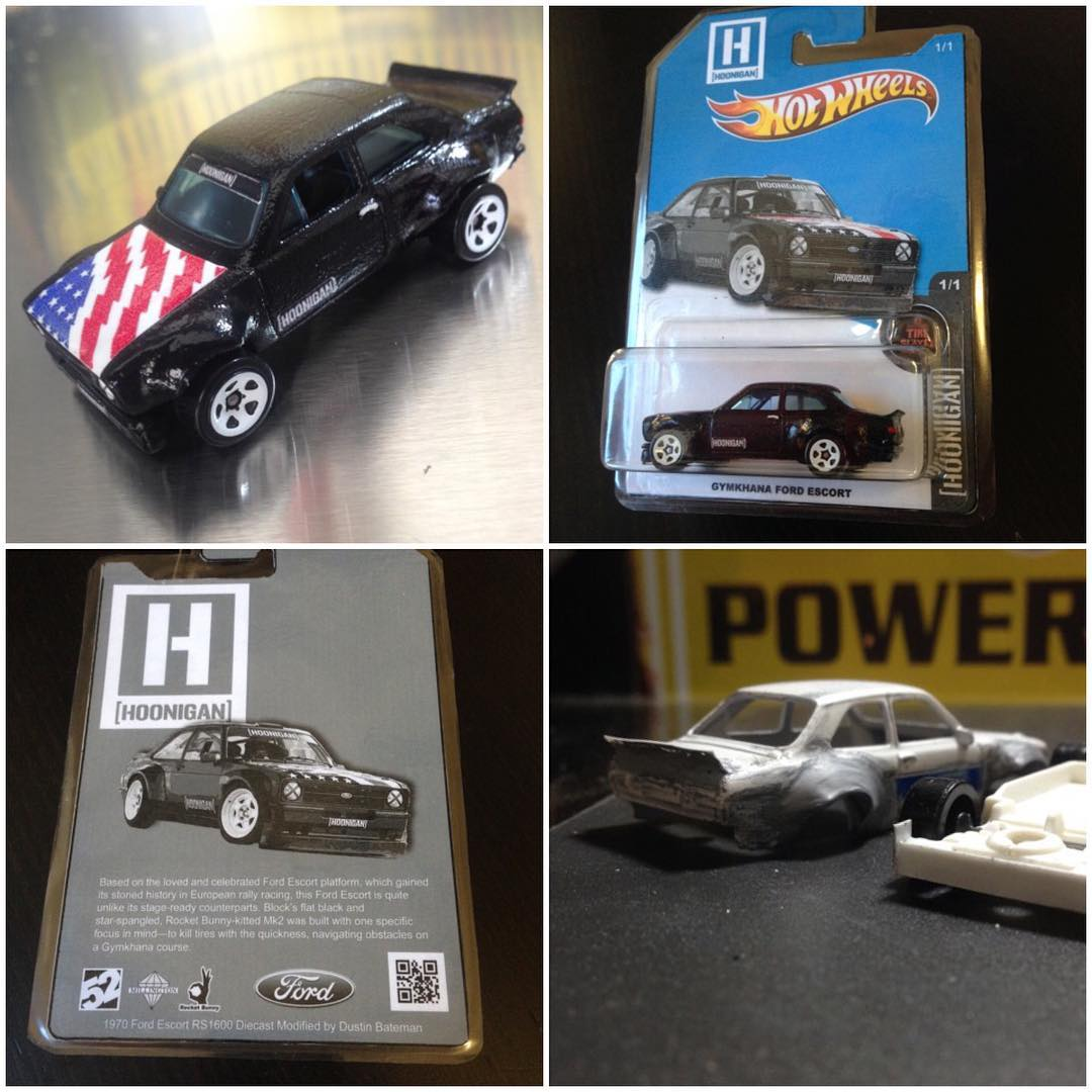 """Wow - this has to be one of the best """"fan tribute"""" things I've seen in a while!! Long-time fan Dustin Bateman (@Duster6667) took a regular hot wheels Ford Escort Mk2, and made it into a mini version of my Gymkhana Escort: body kit, livery, packaging..."""