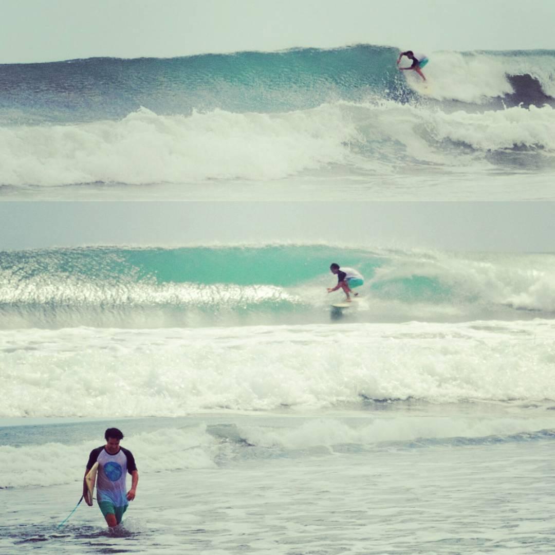 Seguimos de viaje por #Nicaragua. Ayer anduvimos por Playa Santana, un #beachbreak que en marea baja y vientos #offshore tira unos buenos tubos. #maetuanis #surf #surfing #surftrip #santana #popoyobeach #barrel #puravida