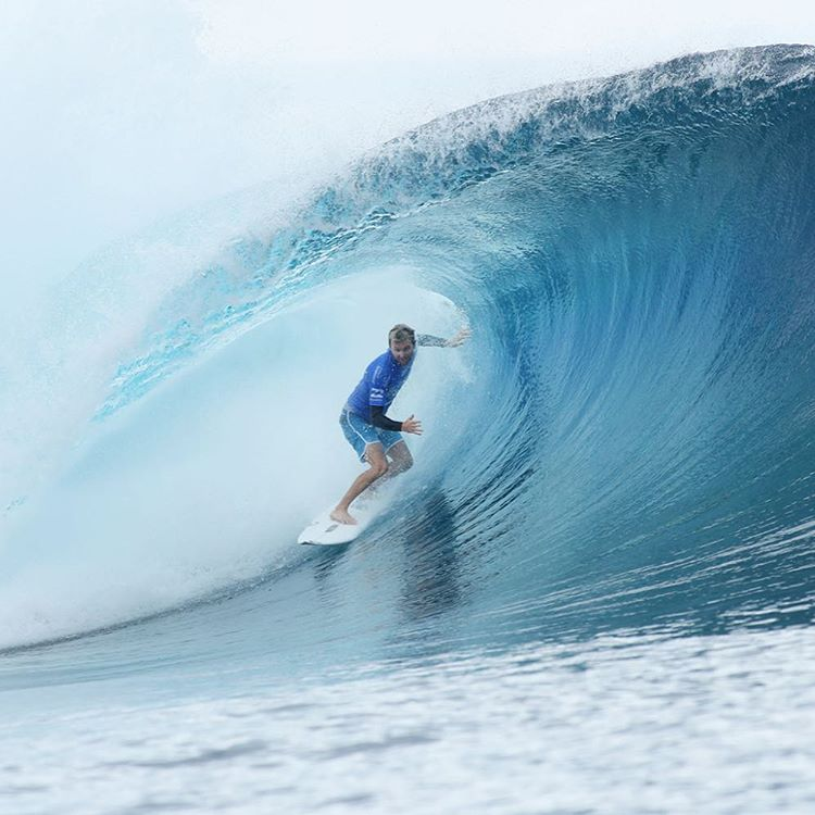 It's on!  @acebuchan vs. Kelly Slater in the semi finals of the WSL Tahiti Pro. Go Ace!  Waves are perfect. #h2ofloatable