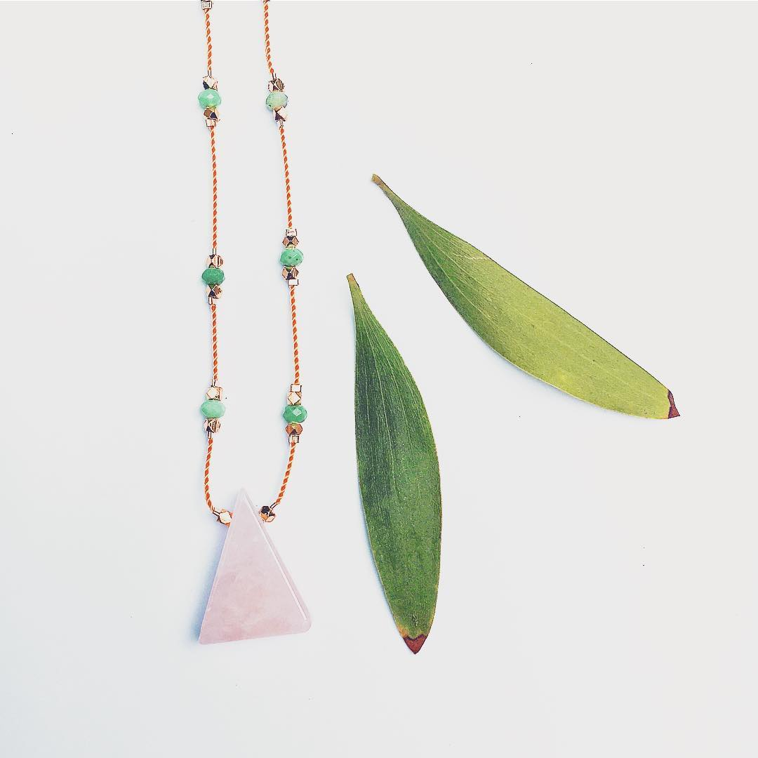 Another exciting variation for our favorite new style. Wearing long and effortlessly, the new Gemstone Stars Necklaces are just so beautiful.  Happily wearing this one out tonight!  #RoseQuartz #amazonite #triangle #gemstone #stars #necklace...