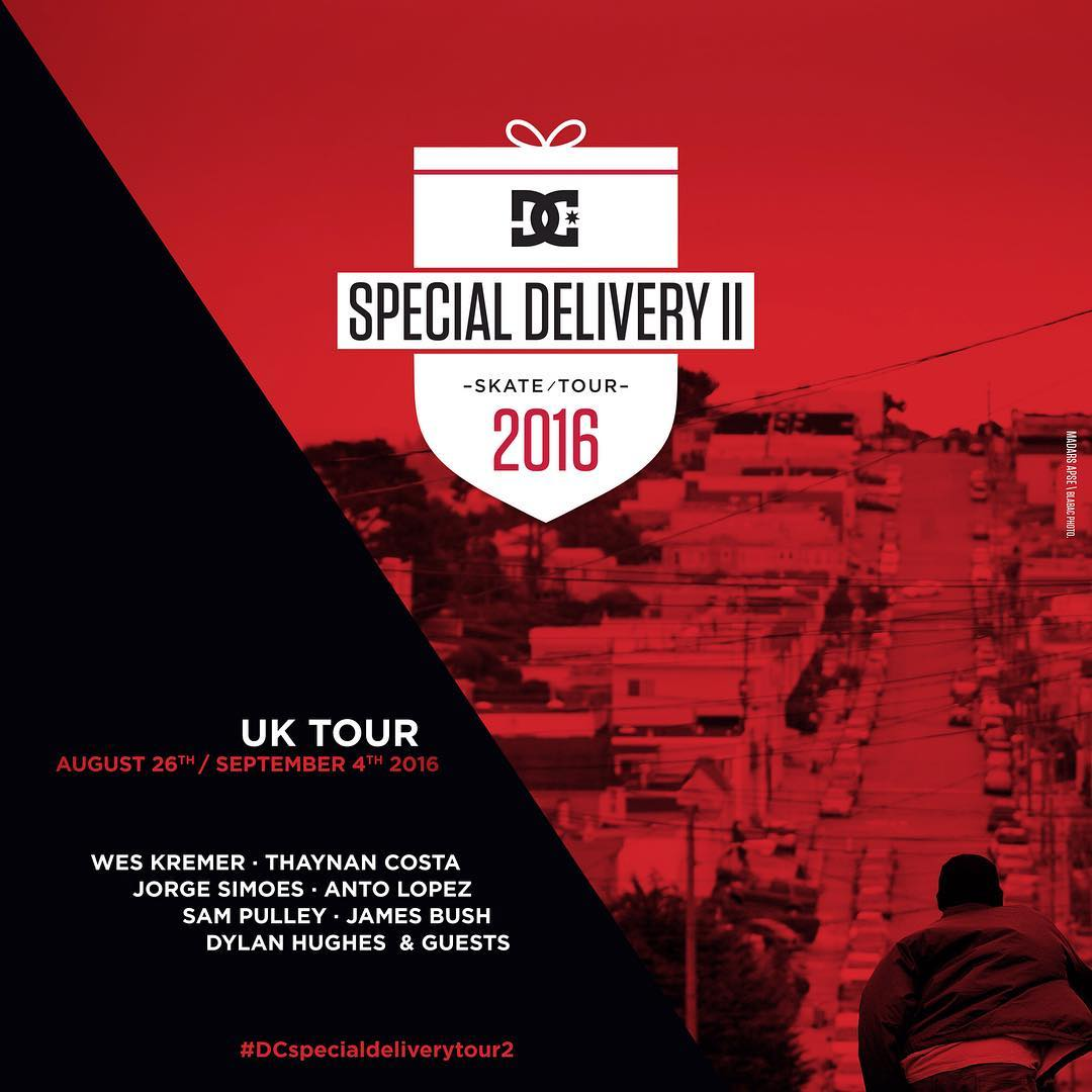 The Special Delivery Tour 2016 wraps up in the United Kingdom with #WesKremer, @thaynancosta and more from August 26th to September 4th. For all of the details visit dcshoes.com/DC_SDT2 #dcspecialdeliverytour2 #dcshoes