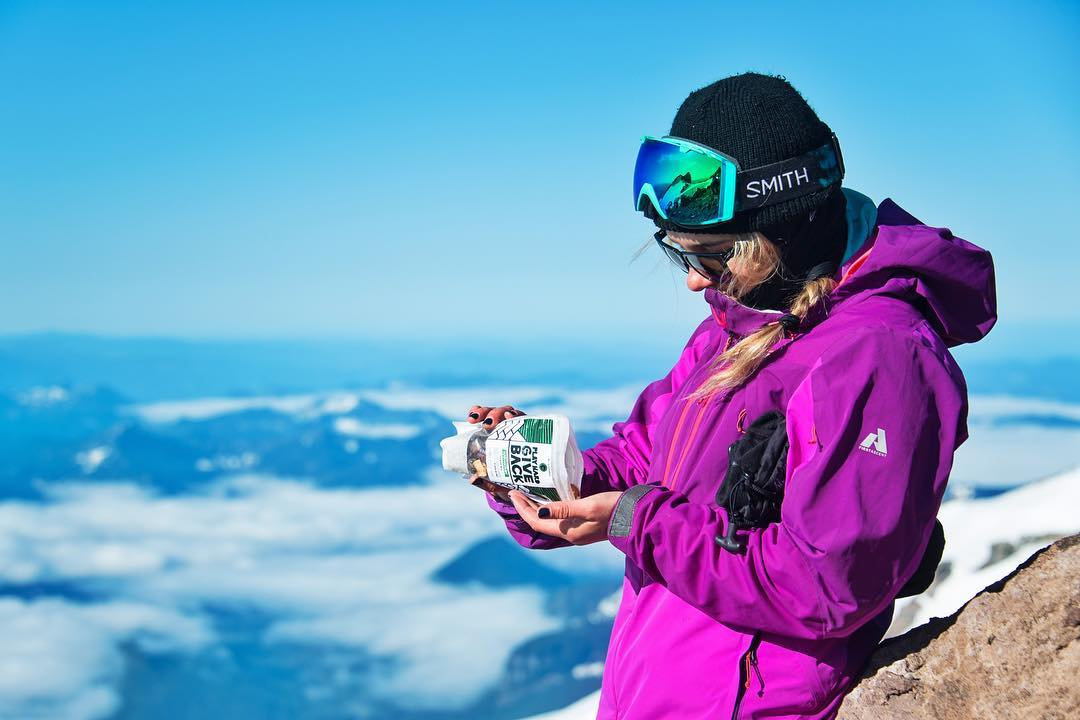#PHGB ambassador @lexidupont eating one of her favorite mountain snacks at Camp Muir, half way up #mtrainer!