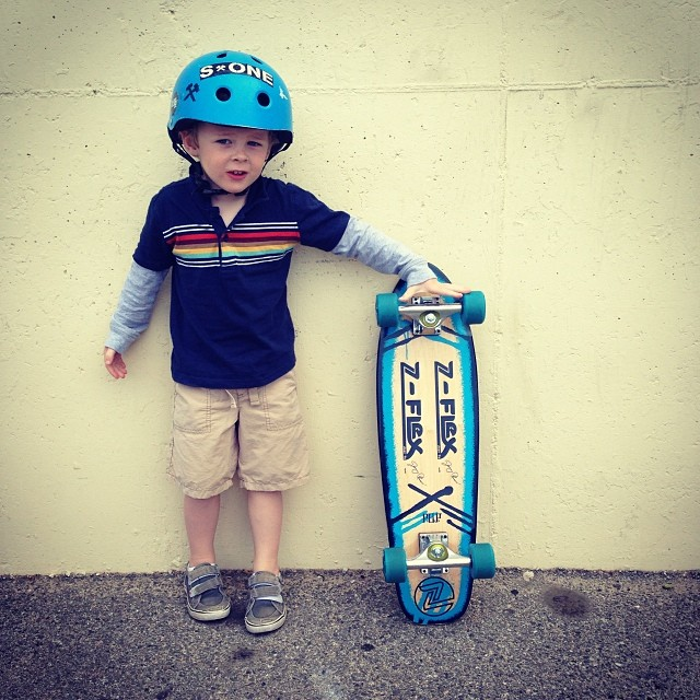 "New #s1helmets ""Mini"" Lifer Helmet for the little rippers. This lil man is 3 and the mini lifer helmet fits nice and deep. #brainbucket #zflexskateboards #learningtoskate @zflexskateboards #letsdothis #skateboardingisfun #rollforever #happykid..."