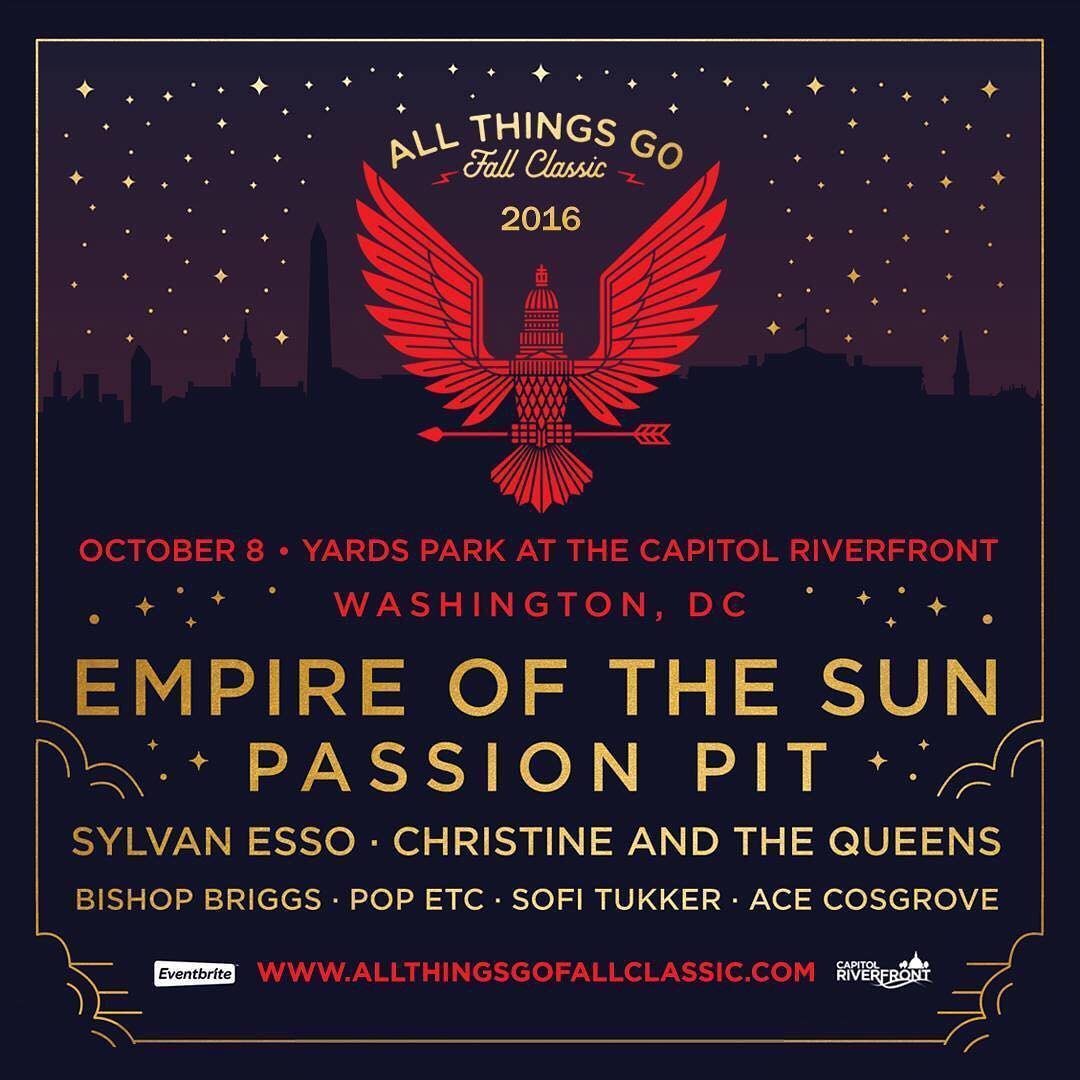 Excited to announce we've partnered with @AllThingsGo for the Fall Classic music festival in DC on Oct. 8!  Lineup: • Empire of the Sun • Passion Pit • Sylvan Esso • Christine and the Queens • Bishop Briggs • Pop Etc • Sofi Tukker • Ace...