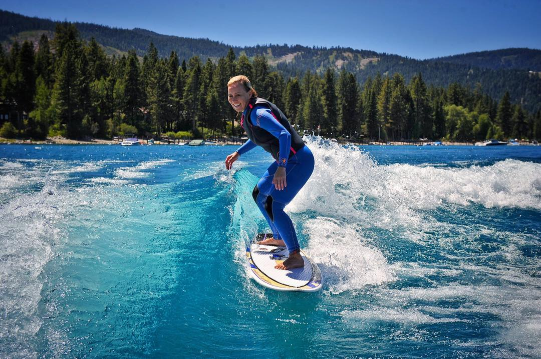 I could look at this photo all day long... I love you @shawnakorgan & love you #LakeTahoe!!! Thank you photo legend, amazing friend and connection master @johnlynch1964 of @showmecables for this shot | #tahoe #girlsthatshred #centurionboats #bodyglove...
