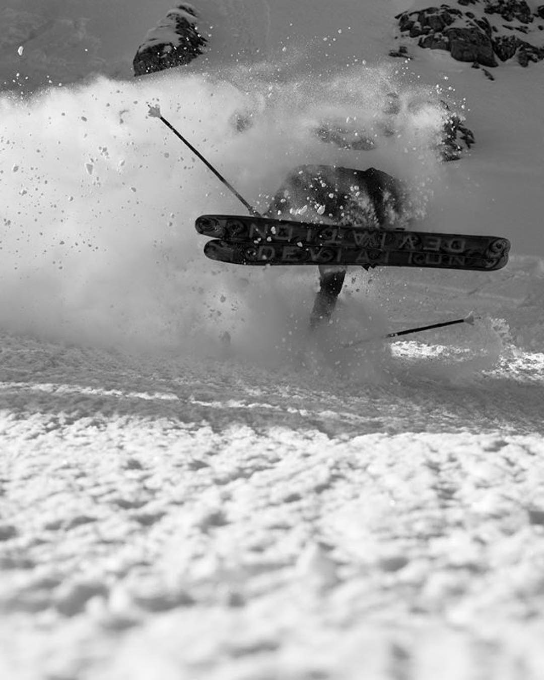"""Oh, you can almost just taste it now! """"Mythical' McKay Richards with a partially inverted Class 4DD #PANDALANCHE hand-drag, captured by photographer Cam McLeod last winter... #TribeUP!  Photo: @_cammcleod_  Repost: @mythicalmckay  #PandaPoles #Skiing"""