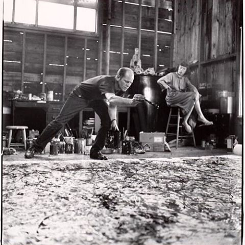 "Art is messy sometimes | #Throwback to Lee Krasner watching her husband #JacksonPollock work on one of his ""action paintings"" at their studio/house in New York."