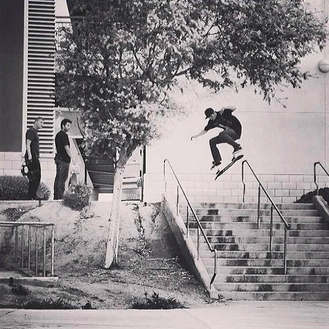 Regram of @c_dupper17 hard flipping a 13 stair with @prod84 and @tyevans watching #hardflip #13stair #skateboarding #steezmagazine