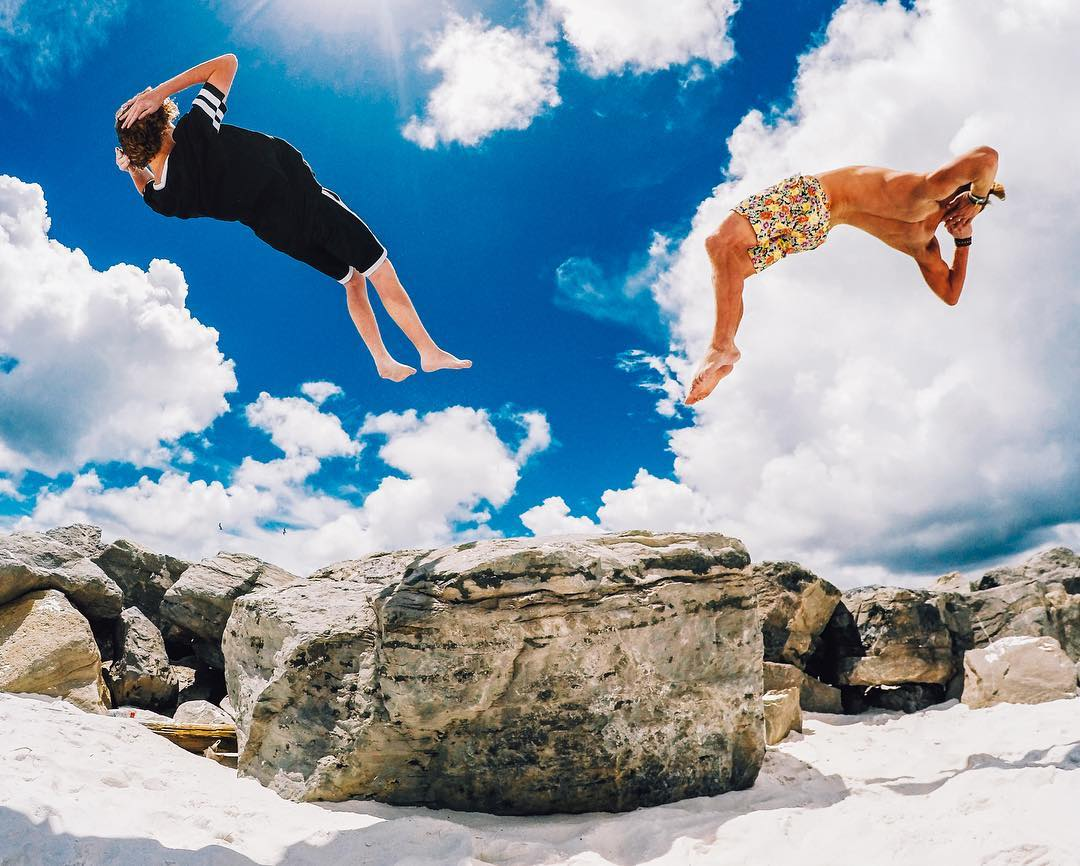 Photo of the Day! Our boy @jesseme93 + his friends enjoying the most chill backflip at the #beach.