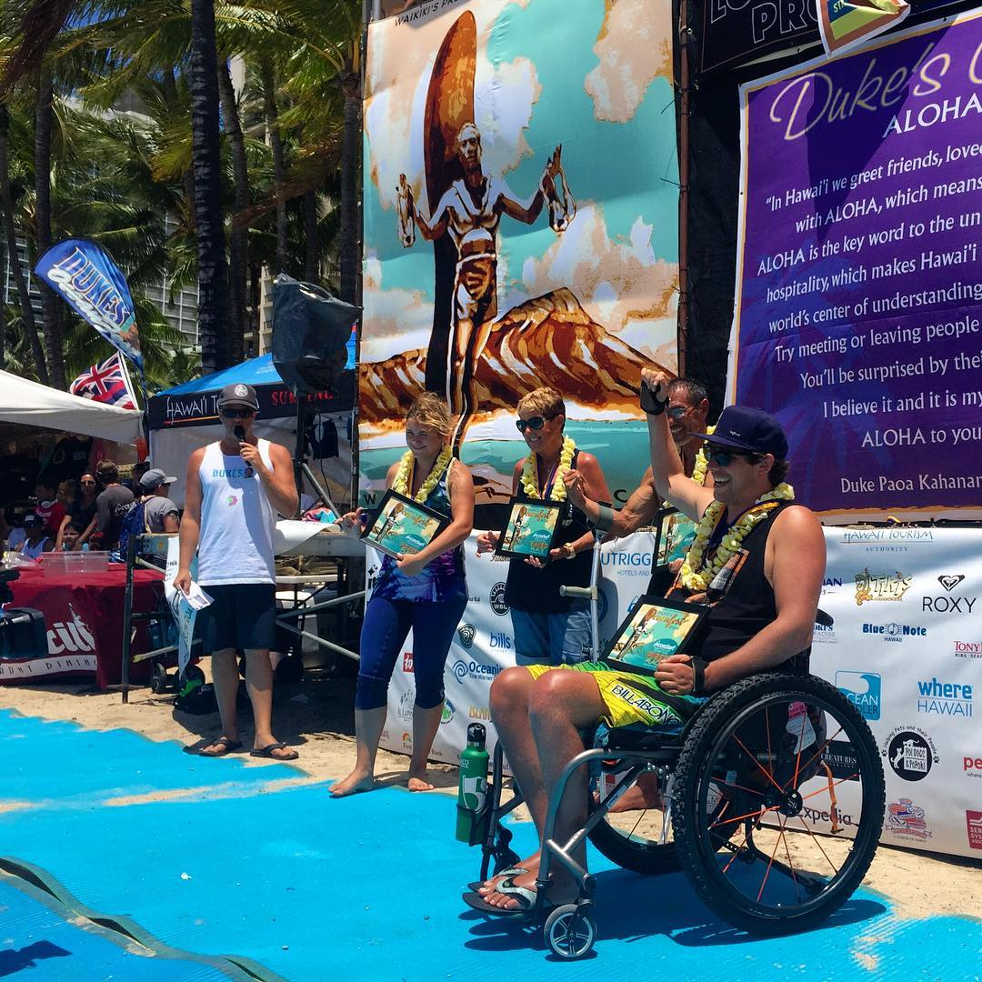 This guy!! #highfivesathlete @j.andrews83 takes 1st place in Adaptive Assist A Division @dukesoceanfest! #dukesof2016 ✋ @accessurf_hawaii