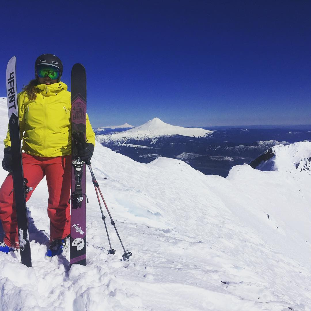 Our Executive Director @freelance_girafficorn Is adventuring in the Andes Mountains this month. Earlier this week, she skied Volcan Lonquimay (Llaima and Villarrica in the background).