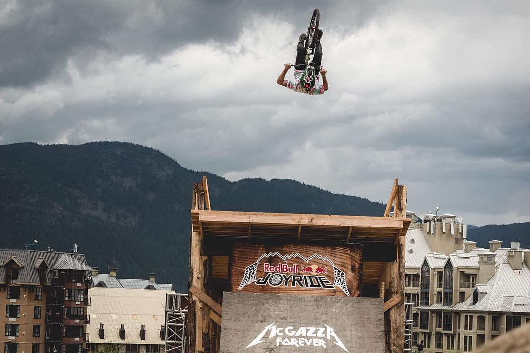 #FrontFlipFriday? @tomaslemoine boostin'  at #RBJoyride  #Crankworx #Whistler #SixSixOne #661Protection #ProtectFun