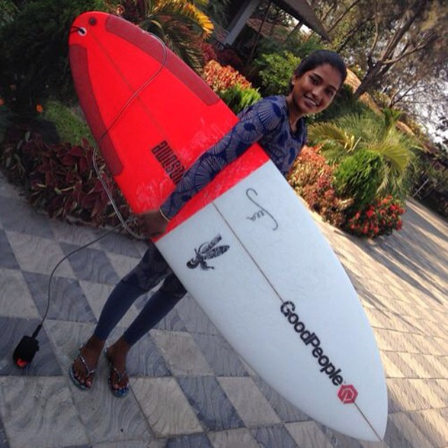 Check out @NasimaSurf rocking her new @theseea surf gear with her new #GoodPeople surfboard made by @AwesomeSurfboards // This a proud moment for us and everyone involved. Thank you for keeping Nasima's stoke alive!  With not much to her name, Nasima...