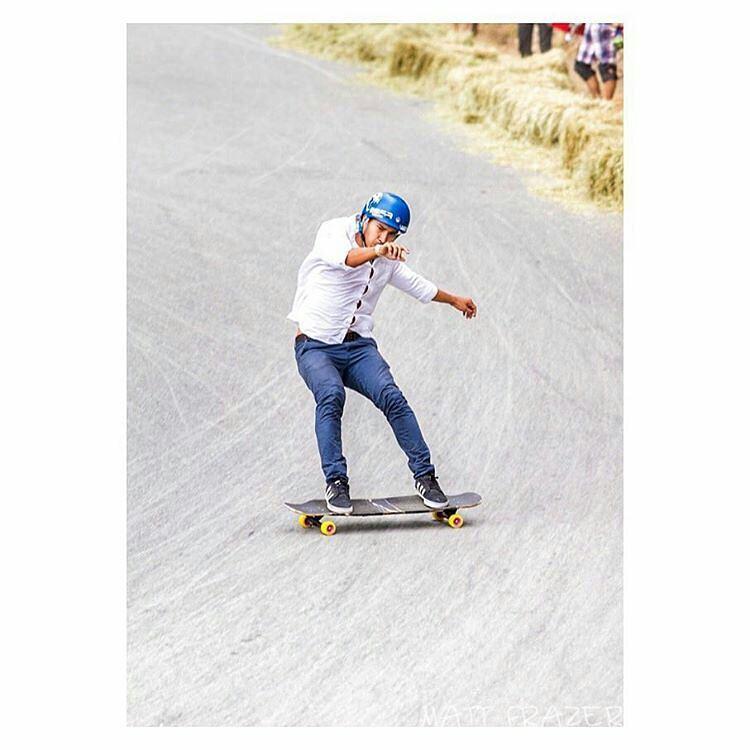 @stevenvera.a threading the needle during this gloveless run.  Ph: @mattfrazer_  #Landyachtz #OrangatangWheels #Beartrucks #PredatorHelmets #SkateandExplore #AdidasSkateboarding #TheSkiffs - #regrann