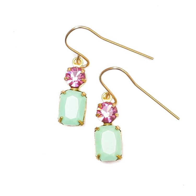 Vintage set glass Coastal Earrings, each pair is named after an inspiring coastline or beach town.  Set on #14kGold ear wires.  #tgif #juliaszendrei #coastal #earrings #vintage #glass #pink #mint #summerstyle #trending