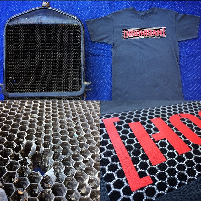 The inspiration for the Honeycomb C-Bar was the radiator on @jchase7452's 1920 Ford Model T. Honeycomb C-Bar tee available now at #hooniganDOTcom #RealOld #gowjob