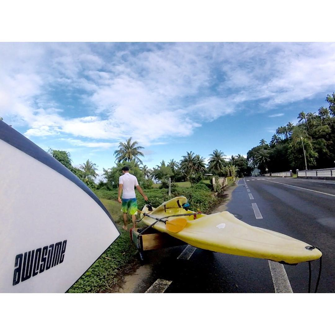 airplane to ferry, ferry to car, car to kayak, kayak to surfboard #moorea #awesome#awesomesurfboards #moorea #wannastayhere
