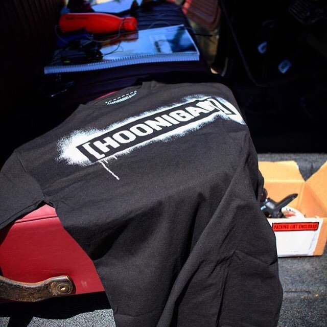 Our stencil tee is available in white on black and black on red and now on #hooniganDOTcom!