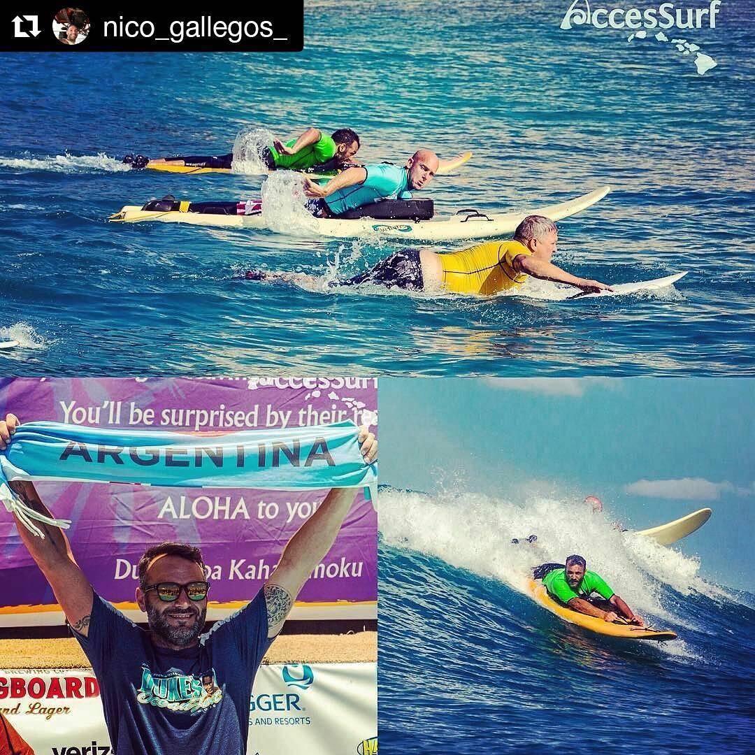 #Repost @nico_gallegos_  Baterías de 20 minutos de la que salían 5 o 6 olas buenas...y por las que tenias que jugarte la vida. Así remamos la final con estos gigantes de los que aprendí mucho para llegar ahí. Gracias @accessurf_hawaii por esta hermosa...