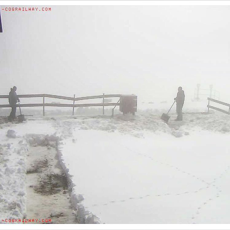 Late #August and the snow is already flying in the high alpine. Image taken from the webcam atop #pikespeak this morning #winteriscoming