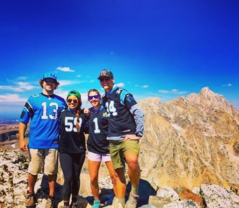 #carolinapanthers fans repping #giverjh on the summit of #buckmountain !! #footballisback #lookatmydab #panthernation Thanks @ebeebnotyard and @annw00 for the awesome pic!!