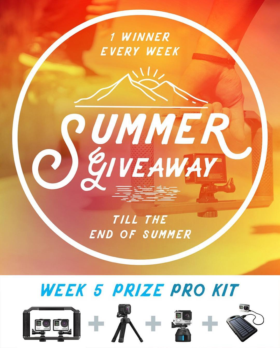 Congrats to week 4 winner, Gerardo Chamoso from Valdemorillo, Spain. GoPole Summer Giveaway week 5 prize - Pro Kit. Enter daily to increase your chances. No purchase necessary, enter once or enter every day to increase your changes of winning. Enter...