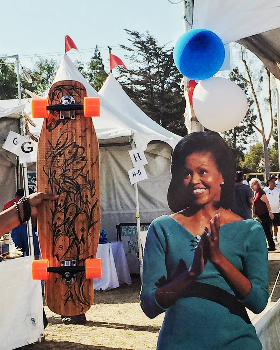 Michelle Obama seemed pretty stoked when we were handing her this Loaded Poke at the Fiesta La Ballona in Culver City this weekend. Such poise. Much composure. Very excite.  Her husband was no where to be found, last we saw he ran off with one of our...
