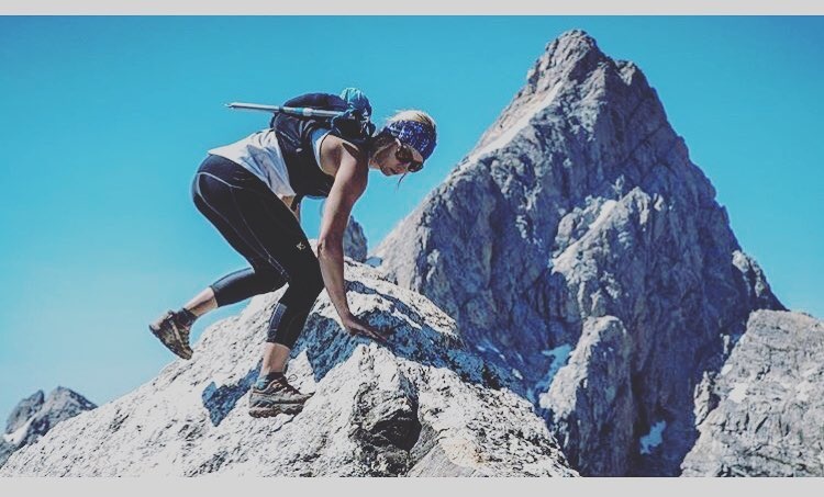 @kyehalpin finds balance at the top of Teewinot on her latest mountain triathlon adventure. #avalon7 #higherstate www.a-7.co