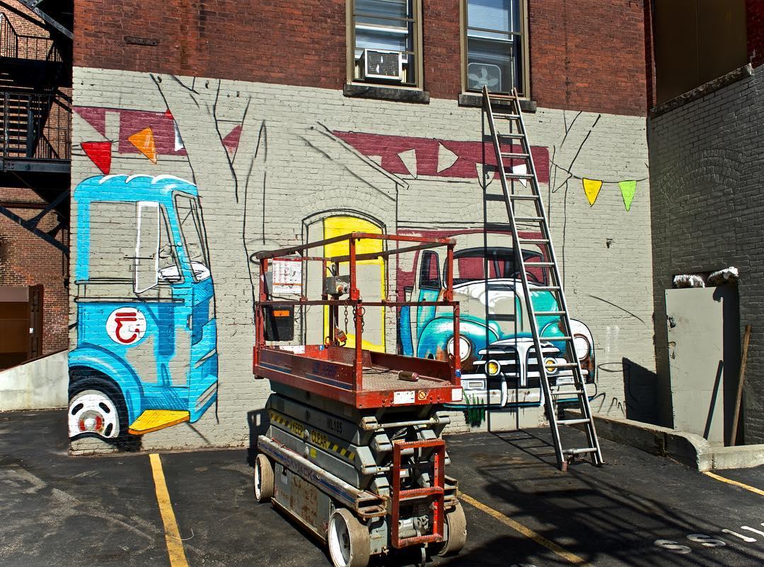 Progress shot of @jasoneatherly's mural for @powwowworcester @powwowworldwide • SprATX is proud to sponsor along side: @powwowworldwide @1xrun @monsterenergy @actionwoo @worcesterwares @worcestermagazine @thegriddistrict @homedepot @niche_hospitality...