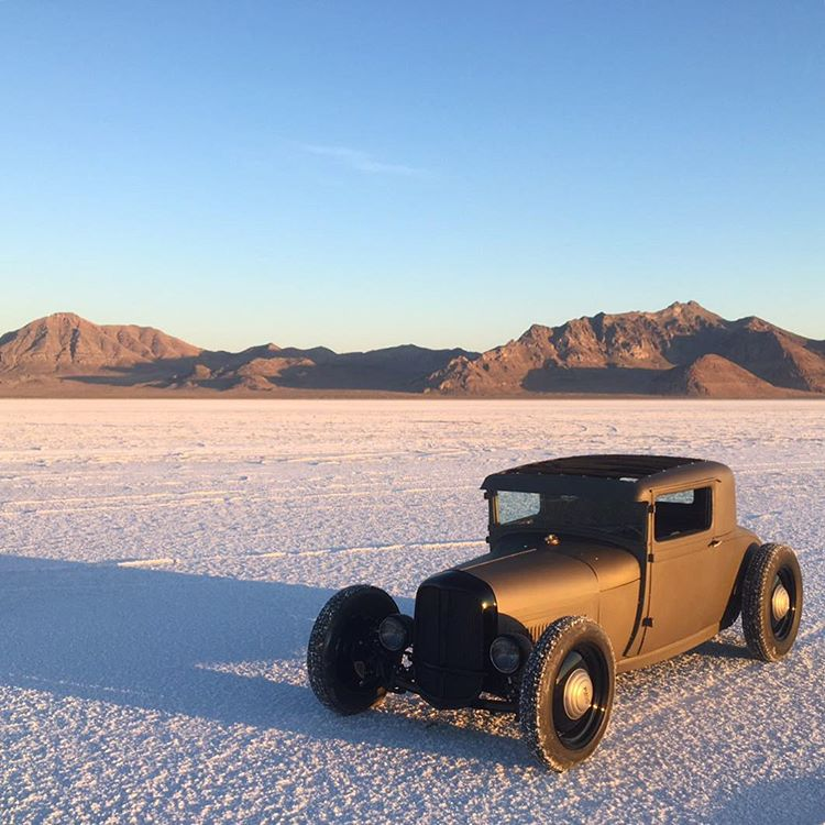 On the road with @heathpinter and @ianbeaudoux. First stop, the salt flats to put this fresh build to the test! Heath's hand-crafted Ford Sport Coupe has been a long time coming and now is the time to put it through the its paces at events all over the...