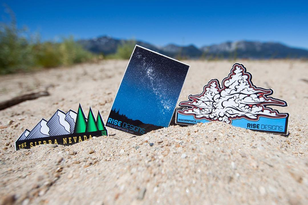 We have some pretty rad stickers. Order a sticker pack via our website. Every order comes with a sticker as well. #risedesigns #risedesignstahoe #stickers #tahoe #beach #inspiredbynature #drivenbydesign