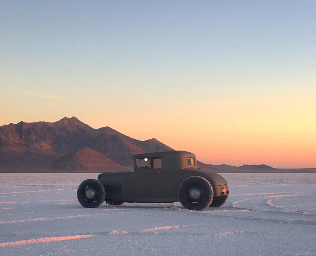 Another quick snap from the salt flat shakedown session with our buddy @heathpinter's newest creation, this '28 Ford Sport Coupe! #ford #hotrod photo by @ianbeaudoux
