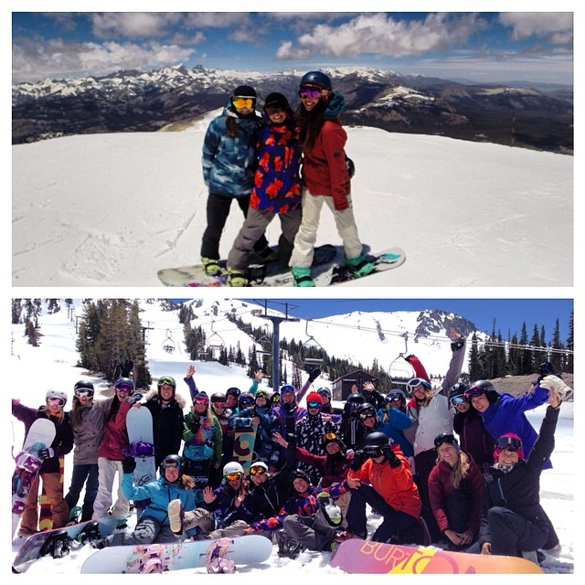 We had an amazing day with the @burtongirls for #BurtonGirlsRideDay at @mammothmountain!  Top: @kellyclarkfdn, #teamB4BC rider @kimmyfasani, and B4BC's @lizatags  Bottom: The Burton Girls ride day crew w/ @donnacarpenter, @amdacyshyn, and pros...