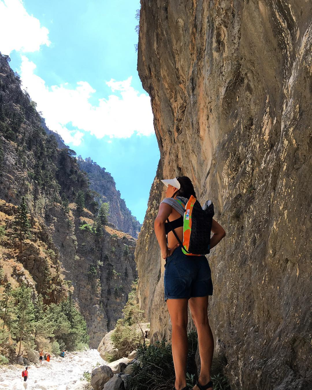 Ksenia our designer on a great hike through Samaria George - Crete testing a secret Mafia pack // Zoom in and double tap if you like the sample.