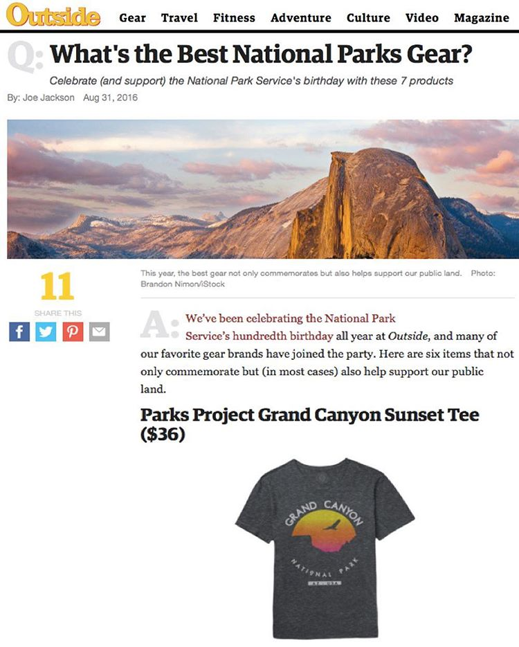 SUPPORT THE PARKS It's an honor to be next to @pendletonwm @columbia1938 @ospreypacks in @outsidemagazine's centennial post on best park gear #radparks #parksproject